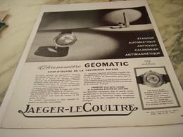 ANCIENNE PUBLICITE CHRONOMETRE JAEGER LE COULTRE   1963 - Joyas & Relojería