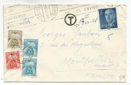TAXE 20FR+10FR+2FRX2 MONTPELLIER 30.12.1959 LETTRE ESPAGNE 3PTAS - Lettres Taxées