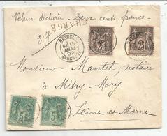 SAGE 25CX2+5CX2 LETTRE CHARGE 200FR TYPE 18 RETHRL 15 MARS 1892 ARDENNES - Marcophilie (Lettres)