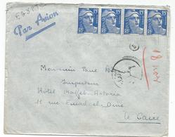 GANDON 15FR BLEUX4 LETTRE AVION MONTPELLIER 1954 POUR EGYPTE - 1945-54 Marianne De Gandon