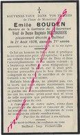 En 1928  Bailleul (59)  Emile BOUDEN Ep  Eugénie DEBURGRAVE - Décès