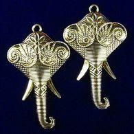 2Pcs 46x27x3mm Sculpté Tibetan Silver Elephant Head Pendentif - Pendants