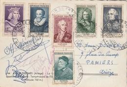 Yvert Série Complète 1027 à 1032 Cachet Tour De France Ax Les Thermes Ariège 1955 Sur Carte Postale Cyclisme Personnages - France