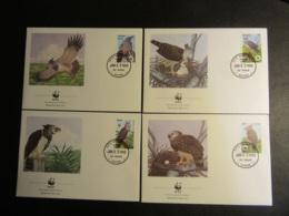 GUYANA - 1990 - WWF - PROTEZIONE DEGLI UCCELLI - 4 BUSTE FDC - Guiana (1966-...)