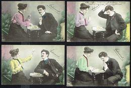 Couple Jouant Aux Cartes - 4 CP Poses Différentes - Circulé - Circulated - Gelaufen - 1904. - Couples