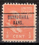 USA Precancel Vorausentwertung Preo, Locals Kansas, Bunker Hill 734 - Vereinigte Staaten