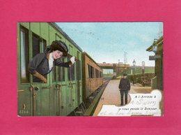"""21 Côte D'Or, """"A L'Arrivée à Dijon Je Vous Envoie Le Bonjour"""", Animée, Train, 1915 - Dijon"""