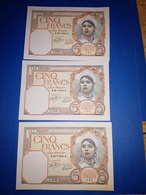 Suite De 3 Billets 5 Francs Algérie 1941 En Superbe état - Algeria
