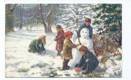 Christmas Postcard   Snowman  Scene Unposted  Oilette Tuck's Unused Merry Winter Time 9963 - Christmas