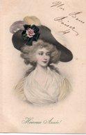 96Ve   Art Nouveau Déco Femme Au Chapeau à Plumes - Donne