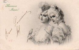 96Ve   Art Nouveau Déco Deux Femmes Et L'oiseau - Vrouwen