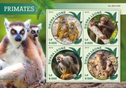 Sierra Leone   2016  Fauna  Primates  Lemur , Monkey , Chimpanzee - Sierra Leone (1961-...)