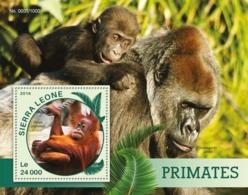 Sierra Leone   2016  Fauna  Primates  , Gorilla ,orangutan - Sierra Leone (1961-...)
