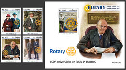 ANGOLA 2019 - P. Harris, Rotary, 4v + S/S. Official Issue - Angola