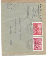 """Belg. N°699-700c Antwerpen 21.7.45 S/l.v.Suede.Censure""""554"""" Via Geneve.Peu Ct.TB - Guerre 40-45"""