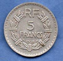 5 Francs 1938  -  1 Coup Tranche Sinon TTB - France