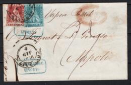 Toscana 1851 1cr.+2cr. Su Lettera Da Livorno A Napoli 4/6/56 Sass.4+5 O/Used VF/F - Tuscany