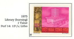 South Viet Nam - 1975 - Un-issued Stamps - Library Burning - MNH - RARE - Vietnam