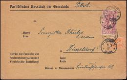 Oberschlesien 20+26 Freimarken Zustellungsurkunde Gemeinde PILTSCH 4.3.1921 - Abstimmungsgebiete