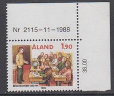 Aland 1989 350th Anniversary Education 1v (corner, Printing Date) ** Mnh (43357L) - Aland