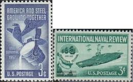U.S. 712,713 (complete Issue) Unmounted Mint / Never Hinged 1957 Steel Industry, Flottenschau - Vereinigte Staaten