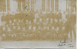 INDRE - AIGURANDE - L'ECOLE DES GARCONS 1900/10  RARE CARTE PHOTO SIGNEE JULIE LETANG DU BAR RESTAURANT D'AIGURANDE - France
