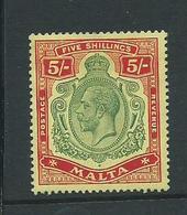 Malta Stamps Sg88 Hm  5/-   Multiple Crown Ca - Malta