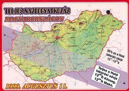 1 Map Of Hungary * 1 Ansichtskarte Mit Der Landkarte Von Ungarn Und Dem Verlauf Der Sonnenfinsternis Vom 11. August 1999 - Cartes Géographiques