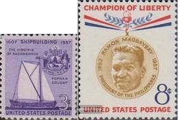 Stati Uniti 718,719 (completa Edizione) MNH 1957 Cantieristica In America, Magsaysay - Stati Uniti