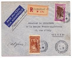Lettre Recommandée 1938 Antananarivo Tananarive Madagascar Alger Algérie Banque Franco Algérienne - Lettres & Documents