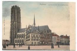 CPA PK  MALINES  LA GRAND'PLACE ET LA CATHEDRALE  CARTE ANIMEE - Belgique
