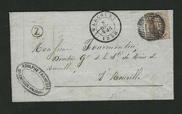 Nr 10A Sur Facture De SILENRIEUX ( Boite Rurale Z ) Cachet Départ De Walcourt P148 Et Arrivée De Philipeville - 1858-1862 Medallones (9/12)