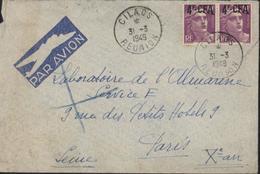 YT 811 Marianne Gandon Surcharge 4F CFA Réunion YT 296 X2 CAD Cilaos Réunion 31 3 1949 Par Avion - Réunion (1852-1975)