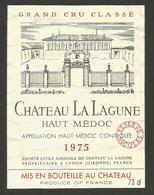 """Etiquette De Vin De Bordeaux """" Chateau La Lagune 1975 - Haut Medoc Grand Cru Classé """" - Bordeaux"""