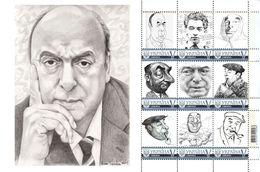Ukraine 2016, World Literature, Poet Pablo Neruda, Sheetlet Of 9v - Ukraine