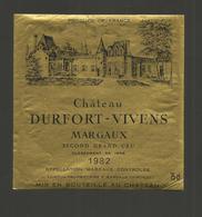 """Etiquette De Vin De Bordeaux """" Chateau Durfort Vivens 1982 - Margaux Second Grand Cru - Bordeaux"""