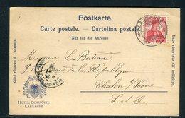 Suisse - Carte D'Hôtel De Lausanne ( Hôetl Beau Site)  Pour La France En 1909 -  Réf JJ 23 - Marcophilie