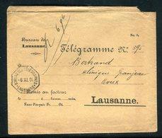 Suisse - Enveloppe Télégraphique  ( Avec Contenu ) De Lausanne Pour Lausanne En 1904 -  Réf JJ 26 - Marcophilie