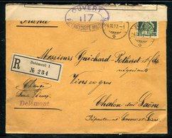 Suisse - Enveloppe En Recommandé De Delémont Pour La France En 1917 , Contrôle Postal , Vignette Au Verso -  Réf JJ 27 - Marcophilie