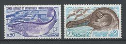 TAAF1977 N° 71/72 ** Neufs MNH Superbes C 4.30 € Faune Oiseaux Poissons Birds Fishes Albatros Animaux - Französische Süd- Und Antarktisgebiete (TAAF)