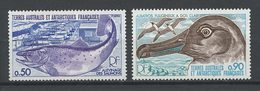 TAAF1977 N° 71/72 ** Neufs MNH Superbes C 4.30 € Faune Oiseaux Poissons Birds Fishes Albatros Animaux - Ungebraucht