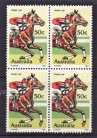 Australia 1978 Horse Racing - Phar Lap 50c Block Of 4 Used - 1966-79 Elizabeth II