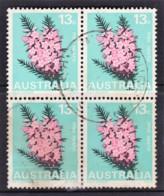Australia 1968 Floral Emblems 13c Pink Heath Block Of 4 Used - 1966-79 Elizabeth II