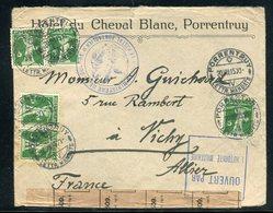 Suisse - Enveloppe De L 'Hôtel Du Cheval Blanc De Porrentruy Pour La France En 1915 Avec Contrôle Postal -  Réf JJ 31 - Marcofilia