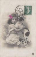 Chiens - Chien - Fillette Et Son Petit Chien - Oblitération Gisors 1910 - Chiens