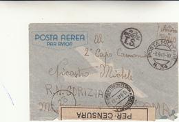 Posta Militare N°34 Per Roma? Cover, Timbro Censura Della Marina + R.R.Poate T.S. A Mano Zona Sprov. Di Bollo 1941 - Militaria