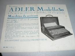 DEPLIANT PUBBLICITARIO MACCHINA DA SCRIVERE ADLER MODELLO 30 - Werbung