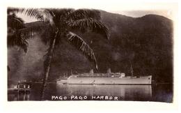 PAGO PAGO  HARBOR    BATEAU DE CROISIERE  DEVANT L'ILE    CARTE ANIMEE - Samoa