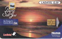 TARJETA DE GUATEMALA DE EL PUERTO DE SAN JOSE CHIP NEGRO  (PUESTA DE SOL-SUNSET) - Guatemala