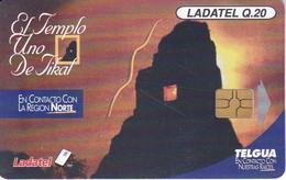 TARJETA DE GUATEMALA DE EL TEMPLO DE TIKAL CHIP NEGRO  (PUESTA DE SOL-SUNSET) - Guatemala
